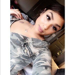 Off shoulder. Camouflage jean top